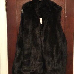 NWT Black Faux Fur Vest